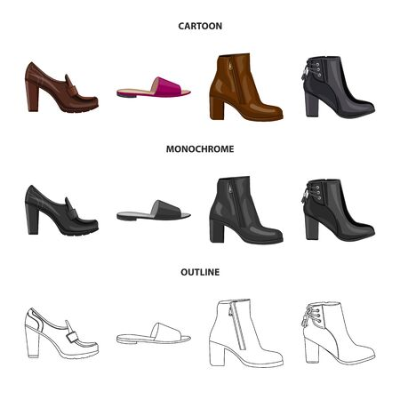 Vector illustration of footwear and woman icon. Set of footwear and foot vector icon for stock. Ilustracja