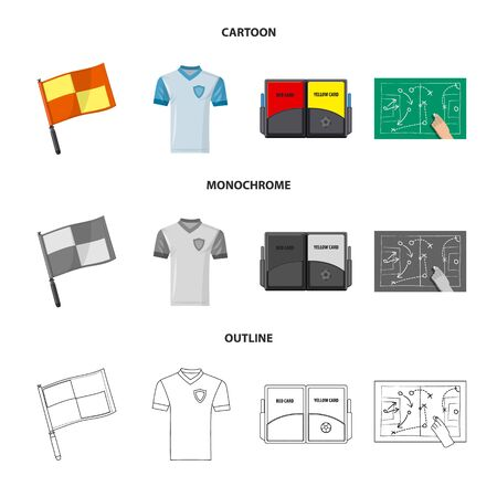 Vector illustration of soccer and gear sign. Set of soccer and tournament vector icon for stock. Ilustração