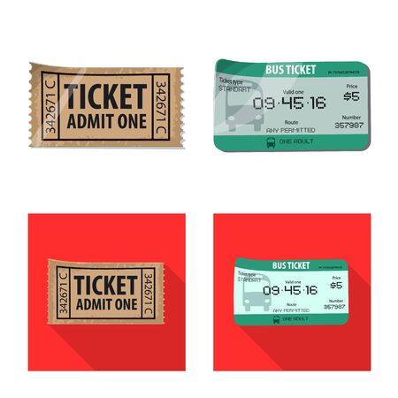Isolated object of ticket and admission logo. Collection of ticket and event stock symbol for web. Çizim