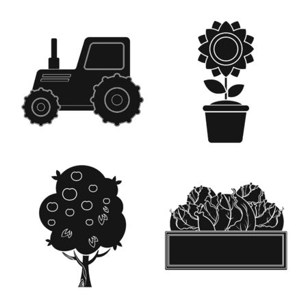 Vector illustration of farm and agriculture logo. Collection of farm and plant stock vector illustration.