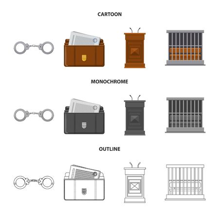 Isolated object of law and lawyer symbol. Collection of law and justice stock symbol for web.