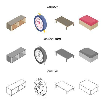 Vector design of bedroom and room logo. Set of bedroom and furniture stock symbol for web. Иллюстрация