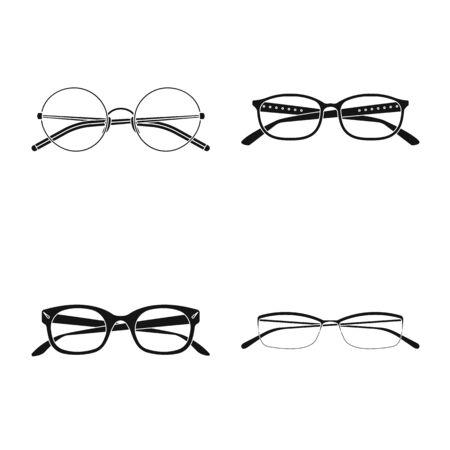 Vector illustration of glasses and frame symbol. Collection of glasses and accessory vector icon for stock. Иллюстрация
