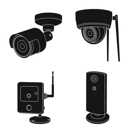Vector illustration of cctv and camera symbol. Collection of cctv and system vector icon for stock. Illusztráció