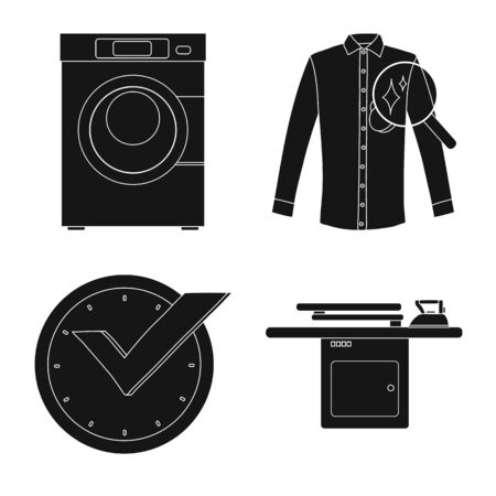 Vector illustration of laundry and clean sign. Set of laundry and clothes vector icon for stock.