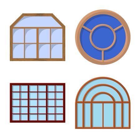 Isolated object of door and front icon. Set of door and wooden stock vector illustration.