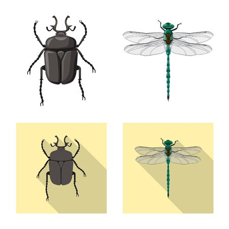 Vector design of insect and fly symbol. Collection of insect and element stock vector illustration. Stock fotó - 131695971