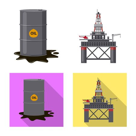 Isolated object of oil and gas sign. Set of oil and petrol vector icon for stock. Çizim