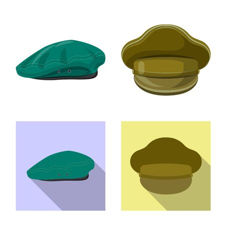 Isolated object of headgear and cap symbol. Collection of headgear and accessory stock vector illustration.