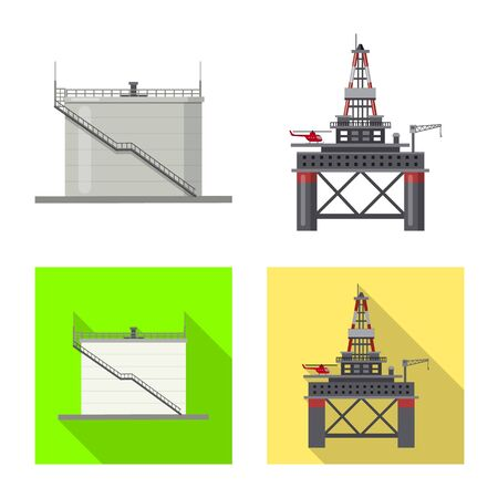 Vector design of oil and gas sign. Collection of oil and petrol stock vector illustration.
