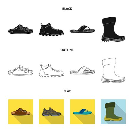 Vector design of shoe and footwear icon. Collection of shoe and foot stock symbol for web.