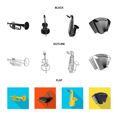 Vector illustration of music and tune sign. Collection of music and tool stock vector illustration.