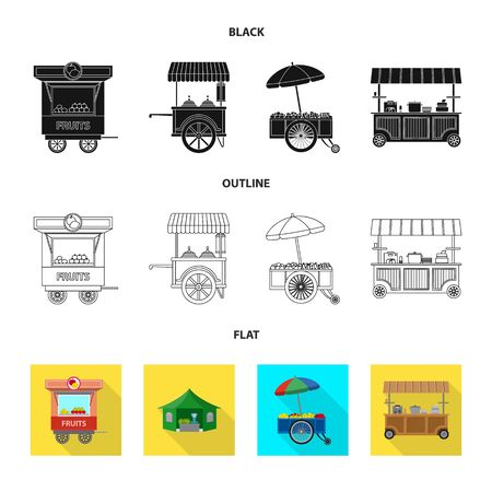 Vector illustration of market and exterior logo. Collection of market and food vector icon for stock.