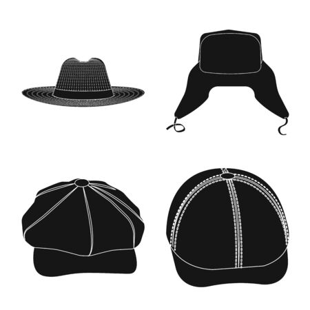 Vector design of headgear and cap icon. Set of headgear and accessory stock vector illustration.