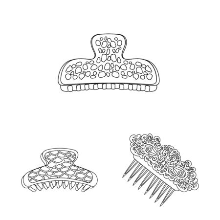 Isolated object of hairdressing and hairclip symbol. Set of hairdressing and accessories vector icon for stock. Çizim