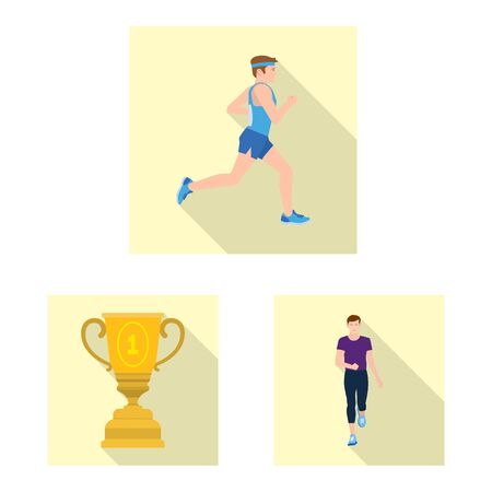 Vector illustration of sport and winner logo. Collection of sport and fitness stock vector illustration. Ilustrace