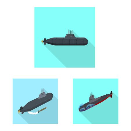 Isolated object of military and nuclear  . Collection of military and ship stock symbol for web.