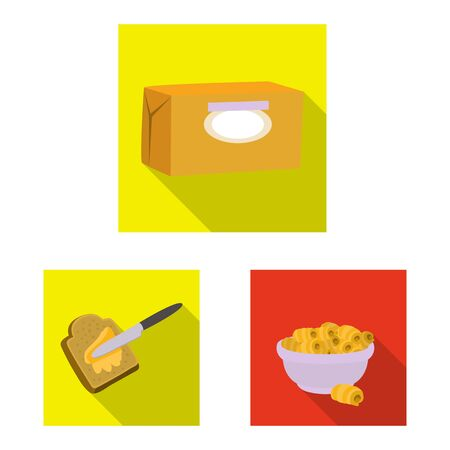 Isolated object of creamy and product  . Collection of creamy and farm stock vector illustration. Çizim