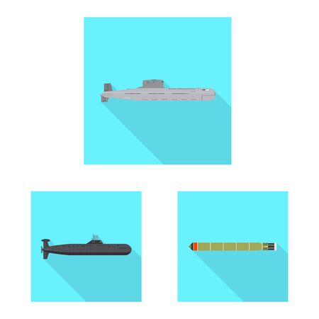 Vector illustration of military and nuclear . Set of military and ship stock symbol for web.