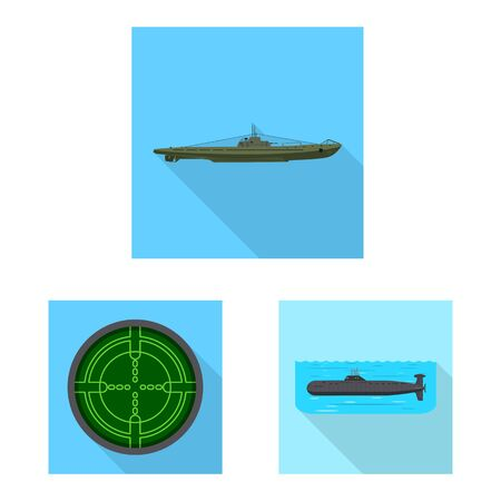 Isolated object of military and nuclear symbol. Set of military and ship stock vector illustration. 일러스트