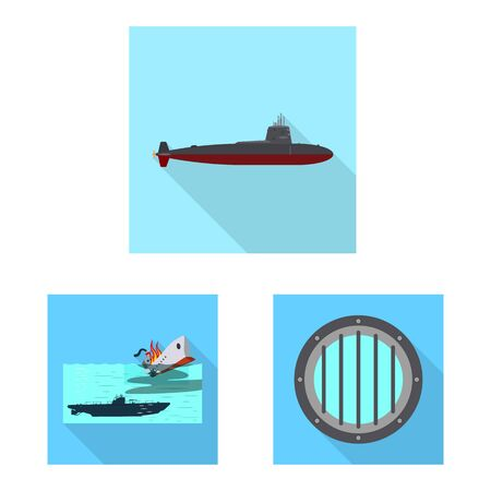 Isolated object of military and nuclear . Set of military and ship stock symbol for web. Illusztráció
