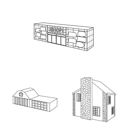 Isolated object of city and construction . Set of city and estate vector icon for stock.