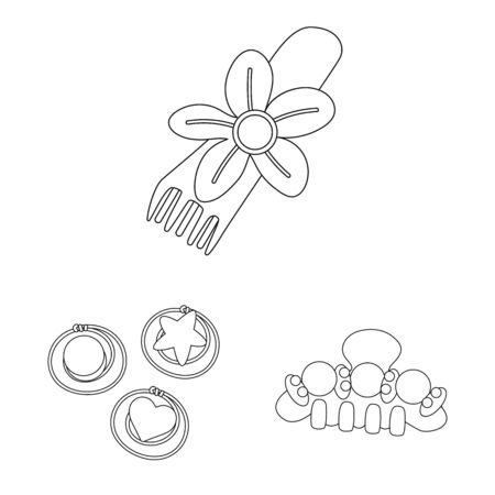 Vector illustration of hairdressing and hairclip symbol. Collection of hairdressing and accessories stock vector illustration.