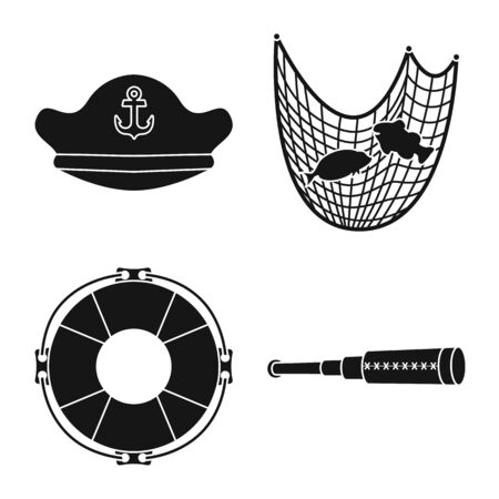 Vector illustration of journey and seafaring . Set of journey and adventure stock symbol for web. Illustration