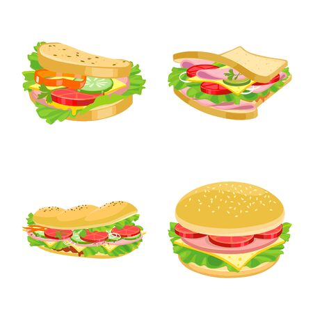 Vector illustration of sandwich and fastfood logo. Collection of sandwich and lunch stock vector illustration.