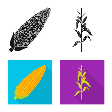 Vector design of cornfield and vegetable . Set of cornfield and vegetarian stock symbol for web.