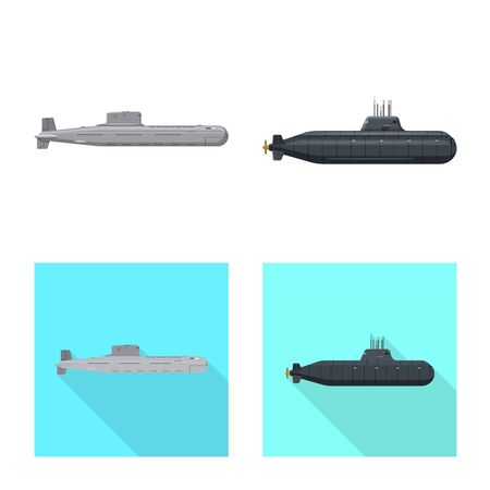 Isolated object of war and ship . Collection of war and fleet stock vector illustration. Illusztráció