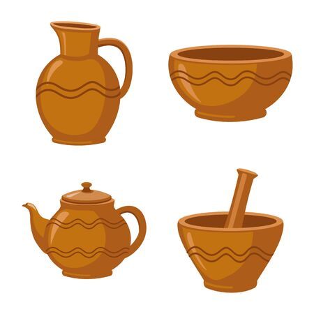 Vector illustration of kitchen and tableware . Set of kitchen and pottery vector icon for stock. Ilustração