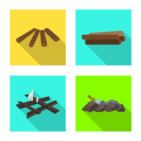 Isolated object of material and logging symbol. Set of material and forestry stock symbol for web. Illustration