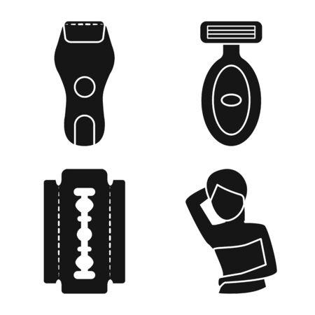 Vector design of shaving and hygiene symbol. Collection of shaving and skin stock symbol for web. Ilustração