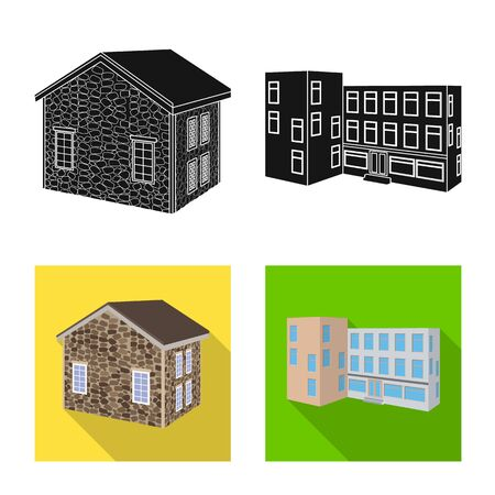 Isolated object of facade and housing logo. Set of facade and infrastructure vector icon for stock.