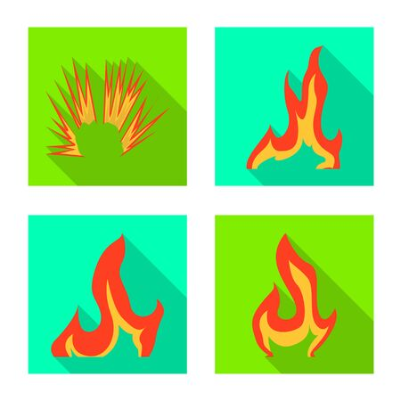 Vector design of bright and dangerous  . Set of bright and wildfire vector icon for stock.