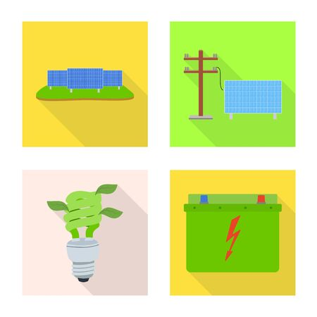 Vector illustration of technology and organic symbol. Collection of technology and alternative stock symbol for web.