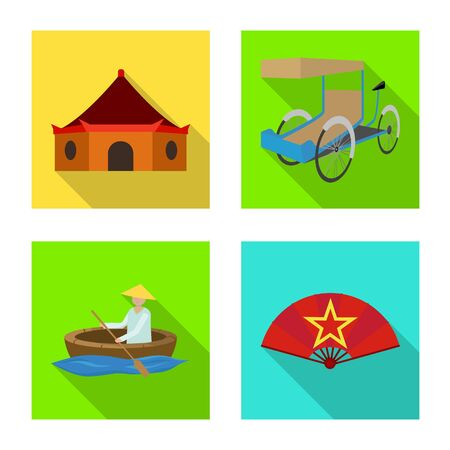 Vector illustration of travel and country symbol. Collection of travel and landmark stock vector illustration.