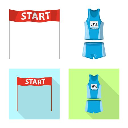 Vector design of sport and winner sign. Set of sport and fitness stock symbol for web.