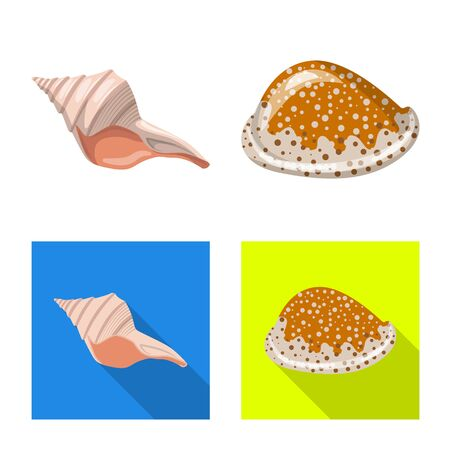 Vector design of animal and decoration symbol. Set of animal and ocean vector icon for stock. Çizim