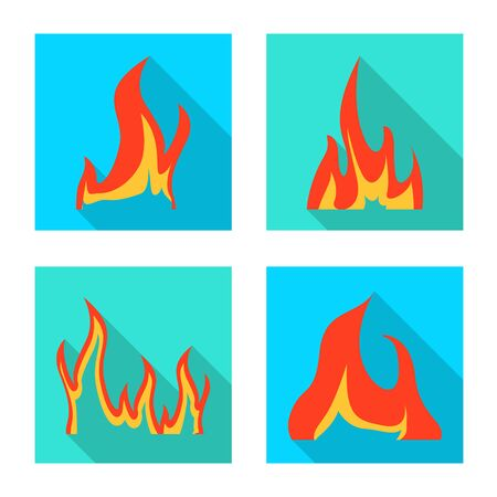 Vector illustration of bright and dangerous sign. Collection of bright and wildfire stock symbol for web. Stock Vector - 131891883