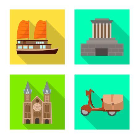 Vector illustration of vietnam and traditional icon. Collection of vietnam and asia vector icon for stock. Иллюстрация