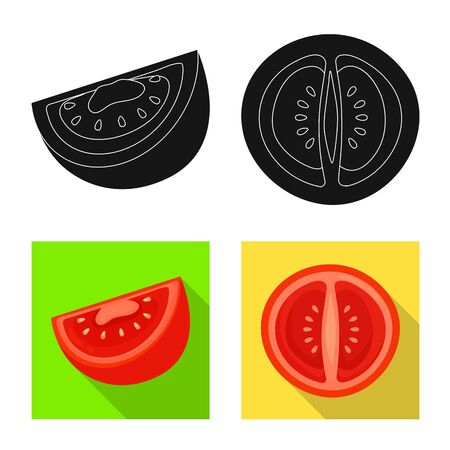 Isolated object of vegetable and delicious symbol. Set of vegetable and natural vector icon for stock.