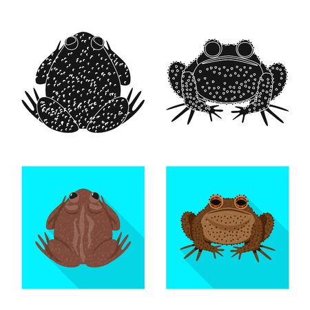 Vector illustration of wildlife and bog . Collection of wildlife and reptile stock vector illustration.