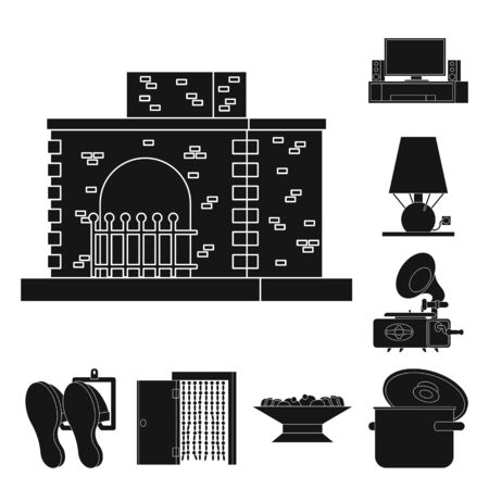 Isolated object of equipment and household sign. Collection of equipment and interior stock vector illustration. Stock Illustratie