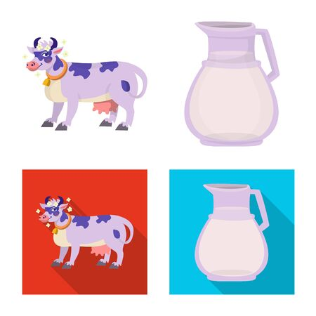 Vector design of creamy and product symbol. Set of creamy and farm stock vector illustration. Ilustracja