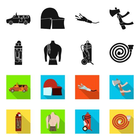 Vector illustration of firefighters and fire icon. Collection of firefighters and equipment vector icon for stock.