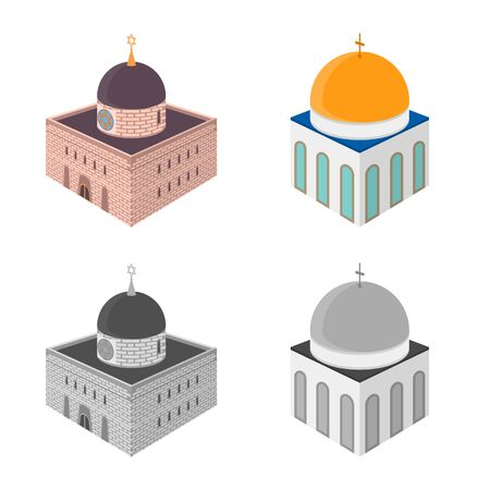 Isolated object of temple and historic sign. Collection of temple and faith vector icon for stock. Çizim