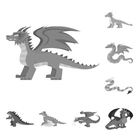 Vector illustration of wild and mythical  . Collection of wild and halloween vector icon for stock.