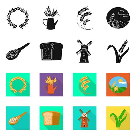 Isolated object of grain and harvest icon. Set of grain and agriculture stock symbol for web.